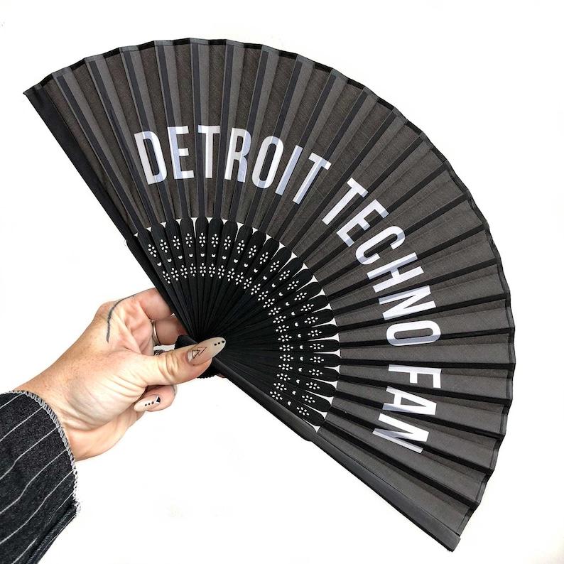 3da4879ab Detroit Techno Fan Printed silk black folding hand fan. | Etsy