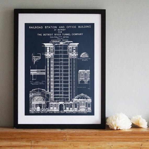 Detroit train station vintage blueprint silkscreened art etsy malvernweather Gallery