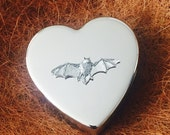 Large Silver Plated Heart Shaped Trinket Pill Jewellery Gift Box with Antique Pewter Bat Emblem