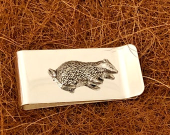 Badger Cufflinks /& Tie Slide Clip Mens Wildlife Gift Set UK Pewter 016