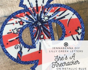 Individual DIY Iron On Letter - Lilly She's A Firecracker Fabric on Metallic Blue Twill