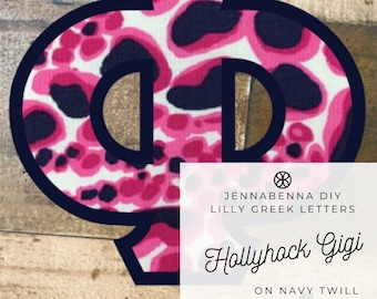 Individual DIY Iron On Letter - Lilly Hollyhock Gigi Fabric on Navy Twill