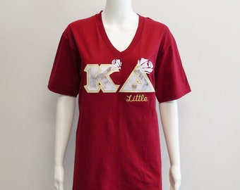 3c75b103948 Kappa Delta Medium Cranberry American Apparel Unisex Fine Jersey V Neck Tee  with JBCO Marble Majestic White Gold on Metallic Gold Sorority