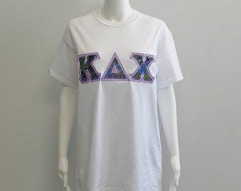 f6815ad680b Kappa Delta Chi M White Classic Fit Unisex Short Sleeve Shirt with JBCO  Color Luscious Ocean Splash on Lavender Sorority Greek Apparel