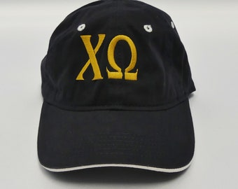eaa5ba9e9b582 Chi Omega Monogrammed Black Cap with Old Gold Thread