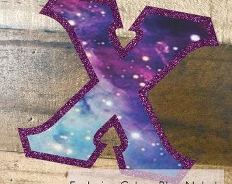 Individual DIY Iron On Letter - Exclusive Galaxy Blue Nebula Fabric on Metallic Purple Twill
