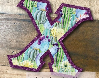 Individual DIY Iron On Letter - Succulent Cactus Blossoms on Metallic Purple Twill