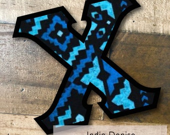 Individual DIY Iron On Letter - Indie Denise on Black twill