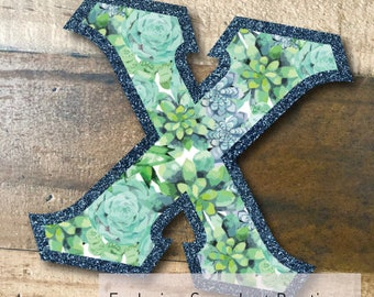 Individual DIY Iron On Letter - Succulent Boutique on Metallic Navy Twill