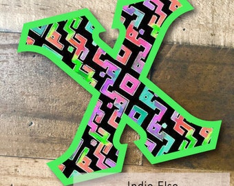 Individual DIY Iron On Letter - Indie Elsa on Lime Green Twill