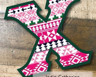 Individual DIY Iron On Letter - Indie Catherine on Hunter Green Twill