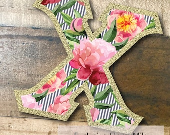 Individual DIY Iron On Letter - Exclusive Floral Mila on Metallic Gold Twill