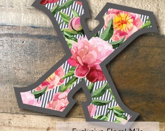 Individual DIY Iron On Letter - Exclusive Floral Mila on Charcoal Twill