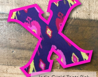 Individual DIY Iron On Letter - Indie Cupid Toots Pink on Neon Pink Twill