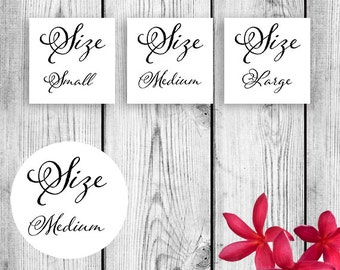 8e0bbdfef Flip Flop Size Tags for Weddings and More Printable DIY Instant Download  PDF JPG sz Instant download