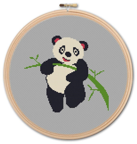 Panda On Bamboo Counted Cross Stitch Pattern Pdf Cross Etsy