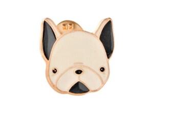Metall Französische Bulldogge Brosche Pin Anstecker goldfarben Anstecknadel