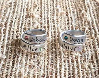 Wrap Ring, Hand stamped Ring, Birthstone Ring, Mother's Ring, Mom Ring, Personalized Ring, Ring with names, Kids name ring, Grandma Ring