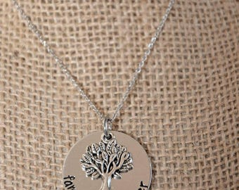 Family is Forever hand stamped necklace; family tree necklace; mother's necklace; mother's day gift