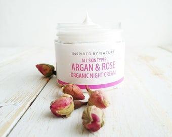 Rose Night Cream, Face Cream, Anti Aging Cream, Rose Cream, Natural Night Cream, Organic Skin Care, Anti Wrinkle Cream, Organic Night Cream