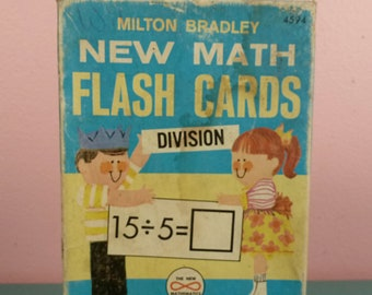 1965 Milton Bradley New Math Division Flash Cards Complete In Box / Vintage School Supplies Education Home School