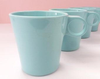 Eight Melamine Plastic Mugs Turquoise / Vintage 1950s Precision Ware USA / Child Camping Trailer Drinkware