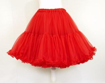 1950s Koro Red Net Flounced Petticoat