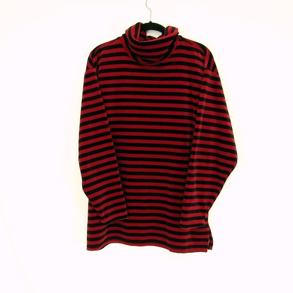 Striped Velour Turtleneck 1980s Vintage Plus Size