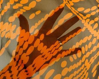 1.6 Yards Vintage Sheer Fabric Black Orange Abstract Dots