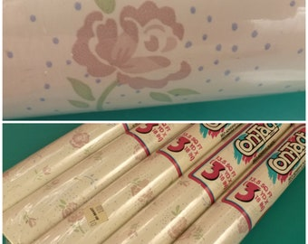 5 Rolls Contact Paper Vintage Shelf Liner Pastel Pink Roses / Shabby Chic Farmhouse Country