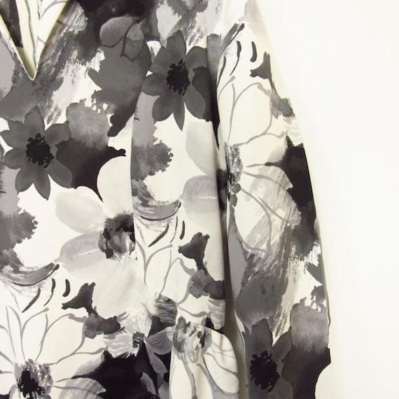 Black White Floral Maxi Dress 1960s Vintage Handmade Size Large