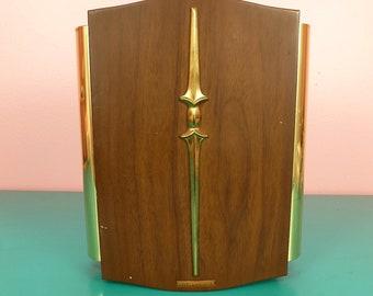 Mid Century Rittenhouse Door Bell Chime Faux Wood Fleur De Lis Brass 1960s Vintage
