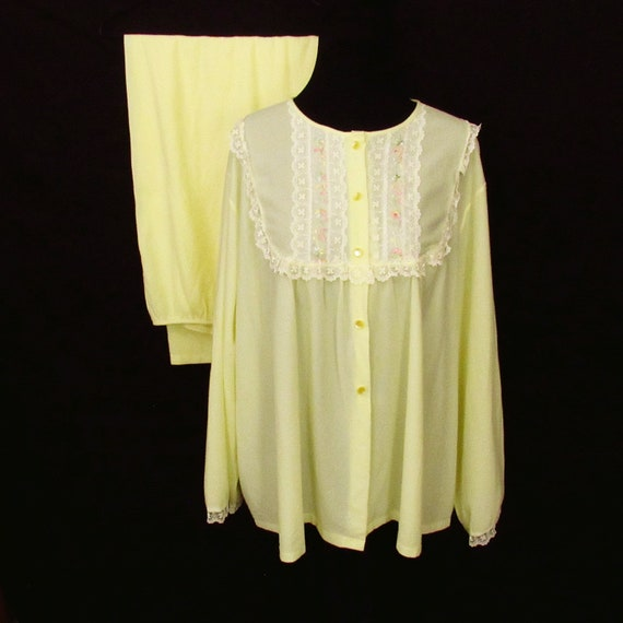 Yellow Vintage Pajama Set Embroidered Lace