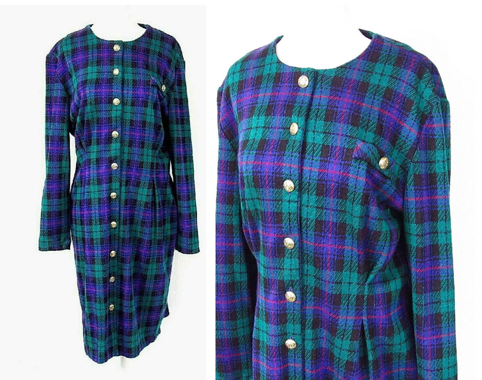 80s Dresses | Casual to Party Dresses Plaid 1980S Vintage Knit Dress Approximate Size Large $0.00 AT vintagedancer.com