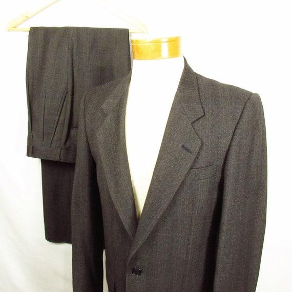 Mens Vintage Suit Windowpane 38L 31x33.25