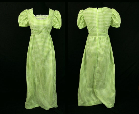 1970s Flocked Maxi Dress Lime Green Gingham Smocke