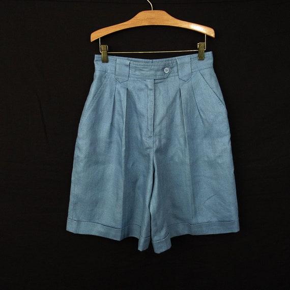 Vintage Bermuda Shorts Blue Linen Size 10P Lined