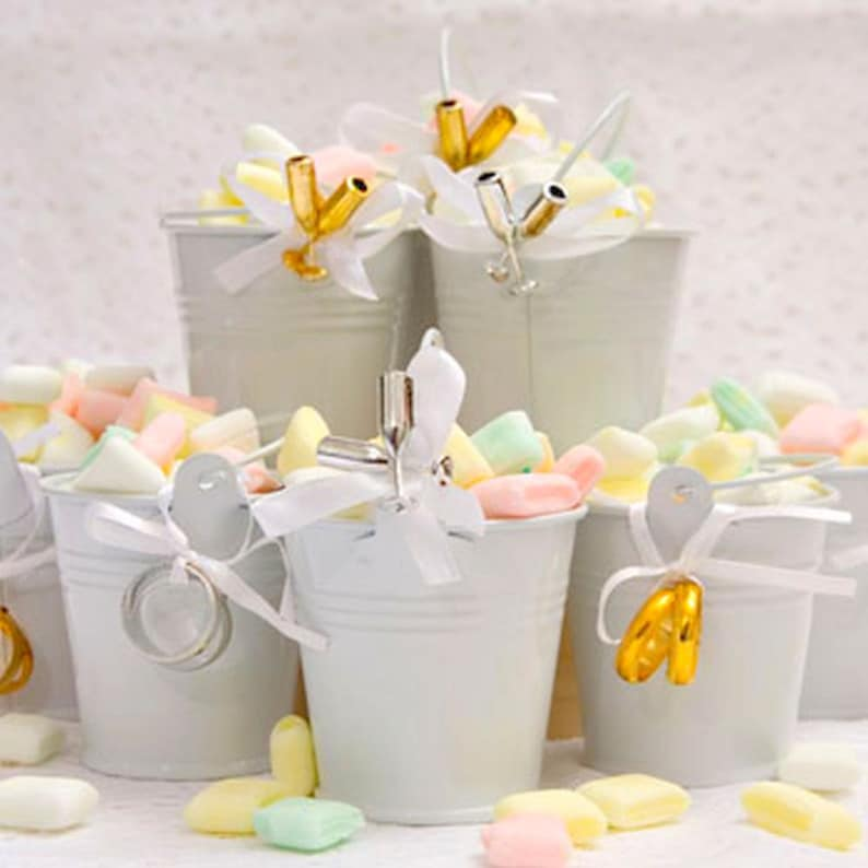 Favors Tin Pail Arrangement 3 Ct 3 Ribbons Packs 3 Cards Etsy