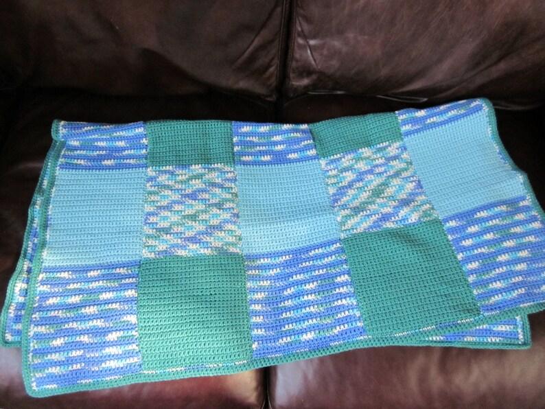 Kelly Green /& Robin/'s Egg Blue Baby Block Blanket