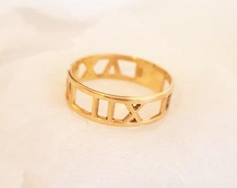 45f2f23c0 Custom 14k Solid Gold Roman Numeral Ring - Numerals Atlas Date Ring