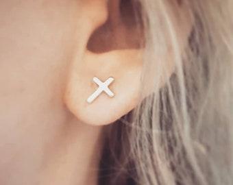 af0ac316d Sterling Silver Cross Stud Earrings - Christian Earrings