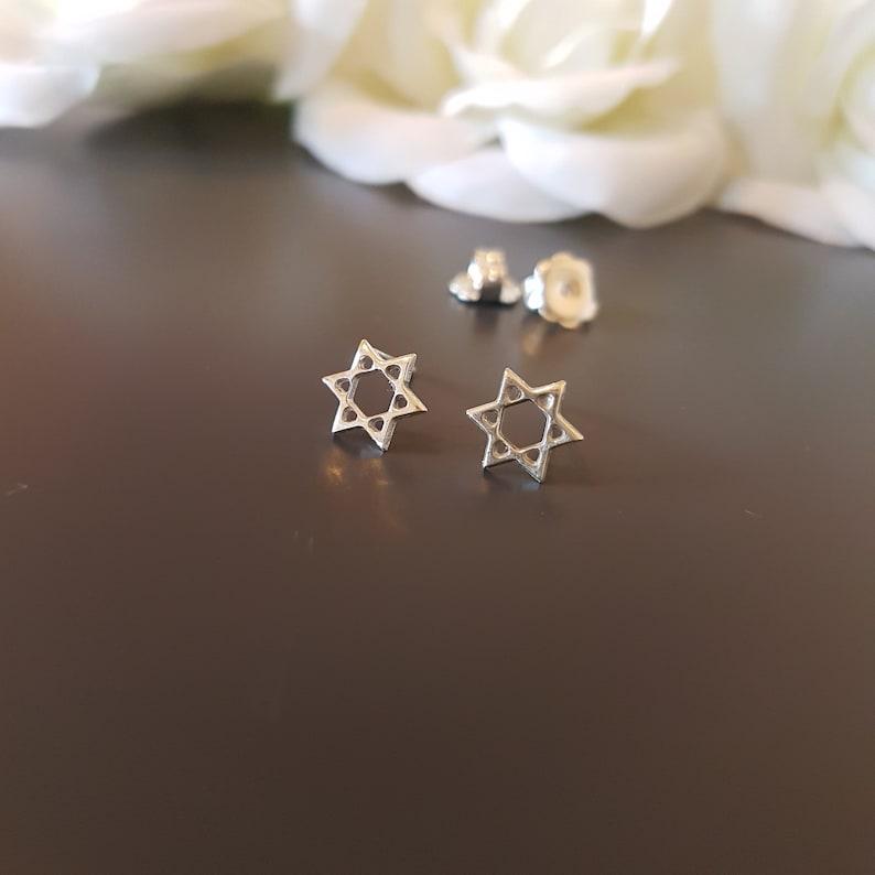 Silver star of David earrings Jewish earrings Hebrew earrings shield of David stud earrings magen David Israeli earrings Jewish star earring