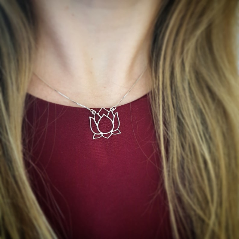 Lotus Necklace Lotus Blossom Necklace Flower Charm Lotus Charm Etsy