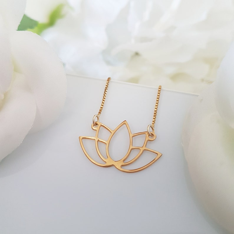 18k Gold Plated Lotus Necklace Pendant Chain Charm Flower Etsy