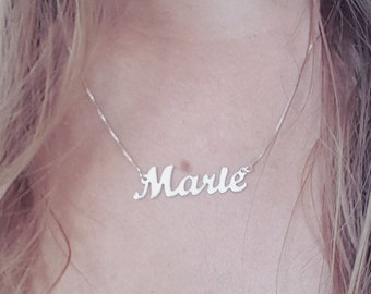 Custom Made Name Necklace Sterling Silver Name Charm Marie Name Pendant Christmas Gifts for Wife, Mother Of The Bride Gifts, Birthday Gifts