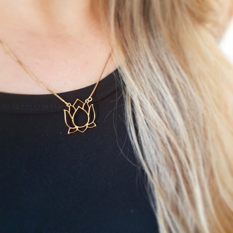 18k Gold Plated Lotus Necklace Dogeared Lotus Flower Necklace Etsy
