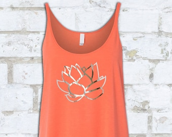 LOTUS TANK FOILED in Silver | Slouchy Tank with Silver or Copper Patterned Metallic Foil | Foiled Yoga Tank