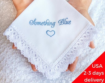 Something Blue for Bride from Maid of Honor Embroidered Bridal Hankerchief Wedding Gift to Bride from Bridesmaid Sister Wedding hankie