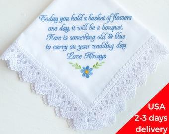 Flower girl gift Flower girl handkerchief Wedding Handkerchief Wedding gift for Flower girl bride gift something blue hankie