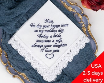 Mother of the Bride handkerchief, Embroidered Wedding hankie for Mom from Daughter, Parent of the bride, Today a Bride, Happy tears hankies